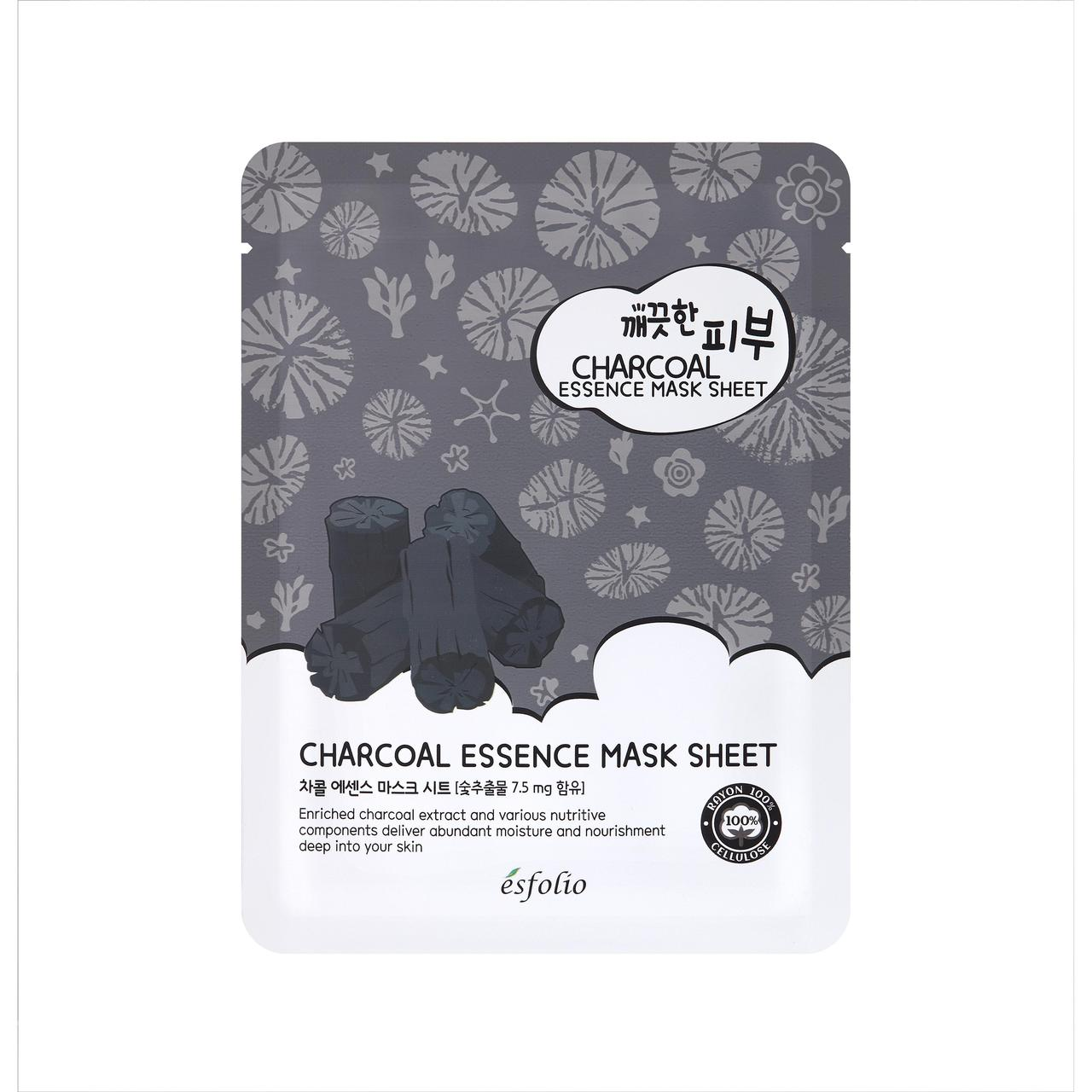 Тканевая маска c углем Esfolio Pure Skin Essence Charcoal Mask Sheet - 1шт
