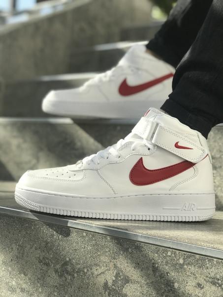 d9fc0bc6 Кроссовки Nike AIR FORCE кожаные белые высокие мужские реплика топ качества  (живые фото)