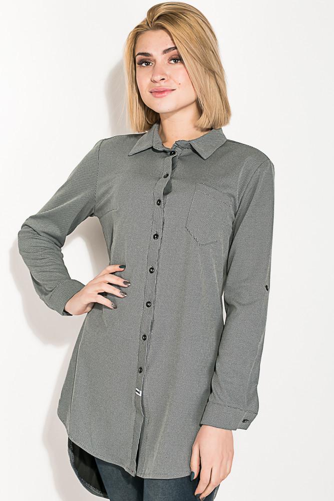 Туника женская, имитация рубашки  64PD2871 (Серый в точку)