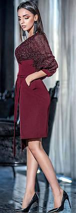 Праздничное платье с асимметричной юбкой 42-48 р Ванесса бордового цвета, фото 2