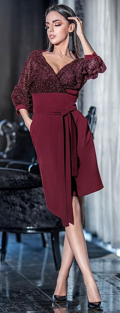 Праздничное платье с асимметричной юбкой 42-48 р Ванесса бордового цвета