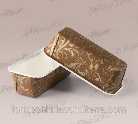 Бумажные формы для кексов и пирогов Plumpy, золотой узор на коричневом, 158х54х50 мм