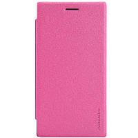 Кожаный чехол книжка Nillkin Sparkle для Nokia Lumia 830 розовый, фото 1