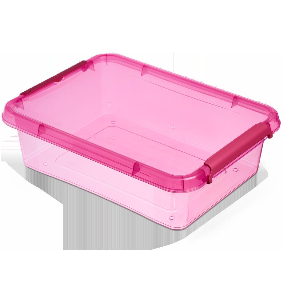 Бокс прямоугольный Orplast 8,5 л с крышкой клипсами розовый