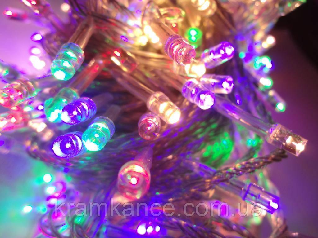 Гірлянда новорічна світлодіодна 300 LED (прозорий дріт) MIX