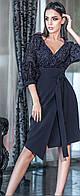 Красивое платье с юбкой на запах  42-48 р Ванесса темно-синего цвета
