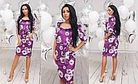 Женское облегающее платье под пояс из мраморного велюра с красивым декольте42, 44, 46