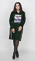 Теплое платье с полосками по бокам и принтом, размер XL