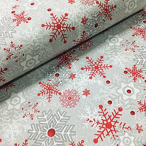 Ткань поплин белые и красные снежинки на сером (ТУРЦИЯ шир. 2,4 м) №32-161
