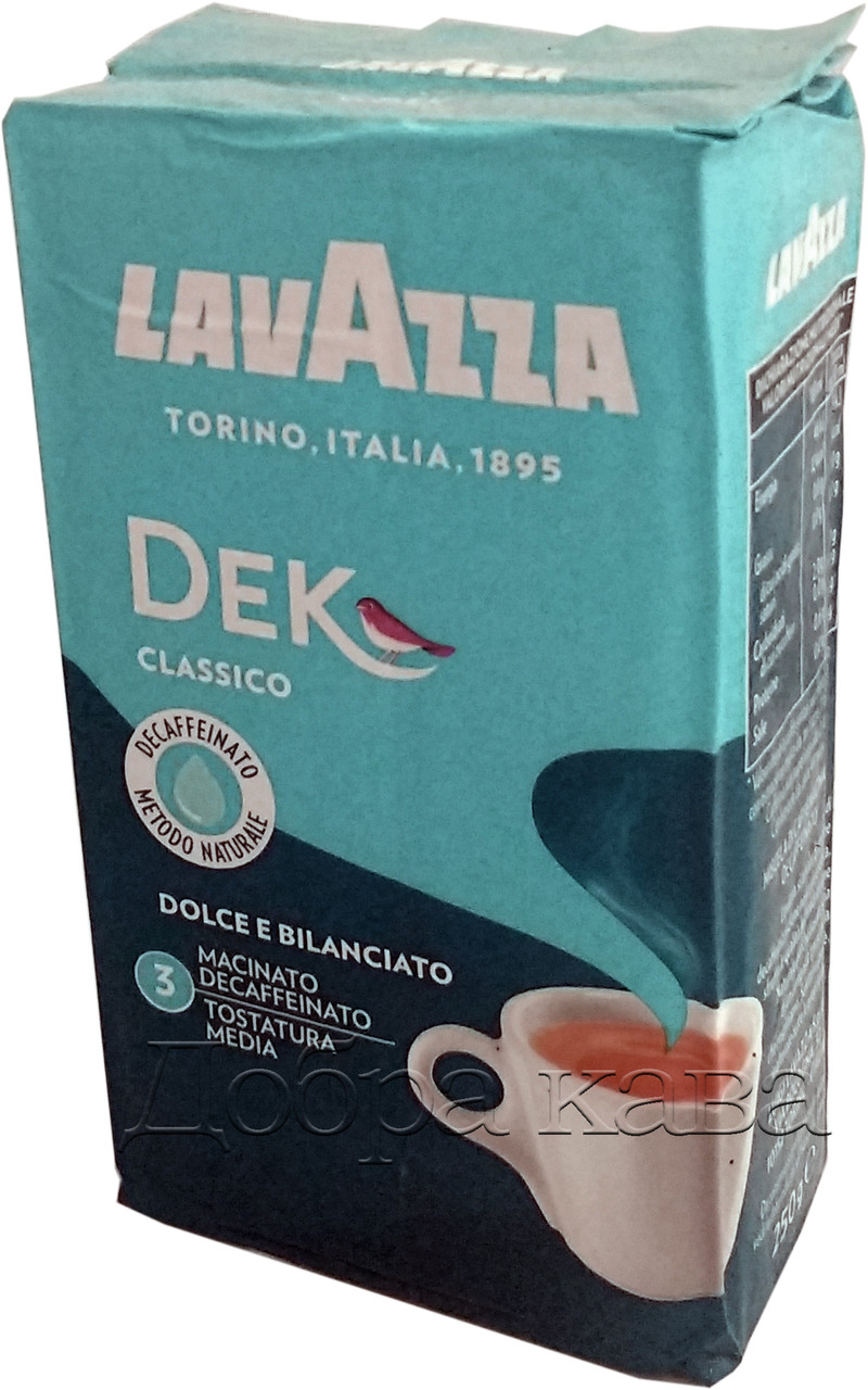Кофе молотый без кофеина Lavazza Dek classico (60% арабика) 250г