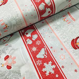Ткань поплин красные снеговики со снежинками на белом (ТУРЦИЯ шир. 2,4 м) №32-162