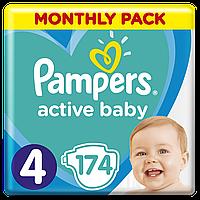 Подгузники Pampers Active Baby Размер 4 (Maxi) 9-14 кг,  174 подгузника