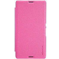 Кожаный чехол книжка Nillkin Sparkle для Sony Xperia E3 D2212 D2202 розовый, фото 1