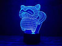 "Сменная пластина для 3D ламп ""Енот"" 3DTOYSLAMP, фото 1"