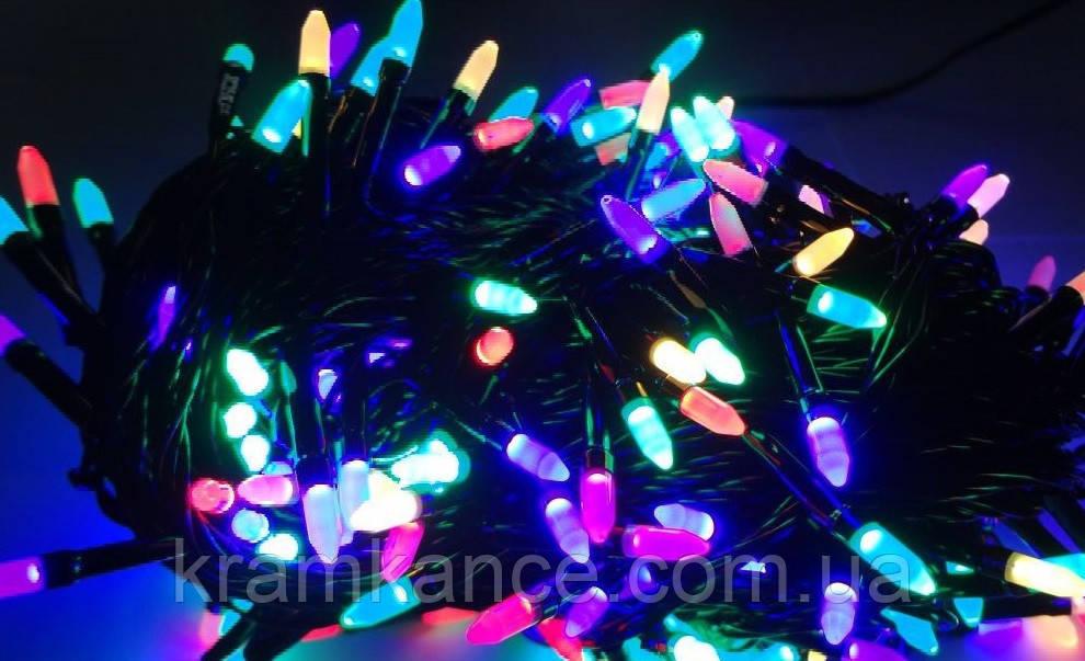 """Гірлянда новорічна світлодіодна 200 LED """"Рис"""" (чорний дріт) MIX"""
