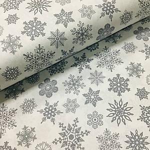 Ткань поплин серые снежинки на белом (ТУРЦИЯ шир. 2,4 м) №32-163