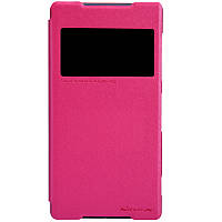 Кожаный чехол книжка Nillkin Sparkle для Sony Xperia Z2 розовый