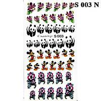 Водные Наклейки для Ногтей Разноцветные, Декор ногтей, Маникюр, Angevi S 003 Цветы, Панда, Микки Маус