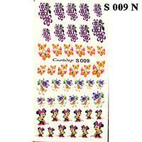 Водные Наклейки для Ногтей Разноцветные, Декор ногтей, Маникюр, Angevi S 009 Цветы, Бабочки, Мышки