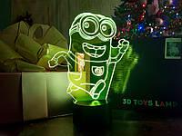 """Детский ночник - светильник """"Миньон"""" 3DTOYSLAMP, фото 1"""