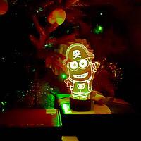 """Детский ночник - светильник """"Миньон Пират"""" 3DTOYSLAMP, фото 1"""