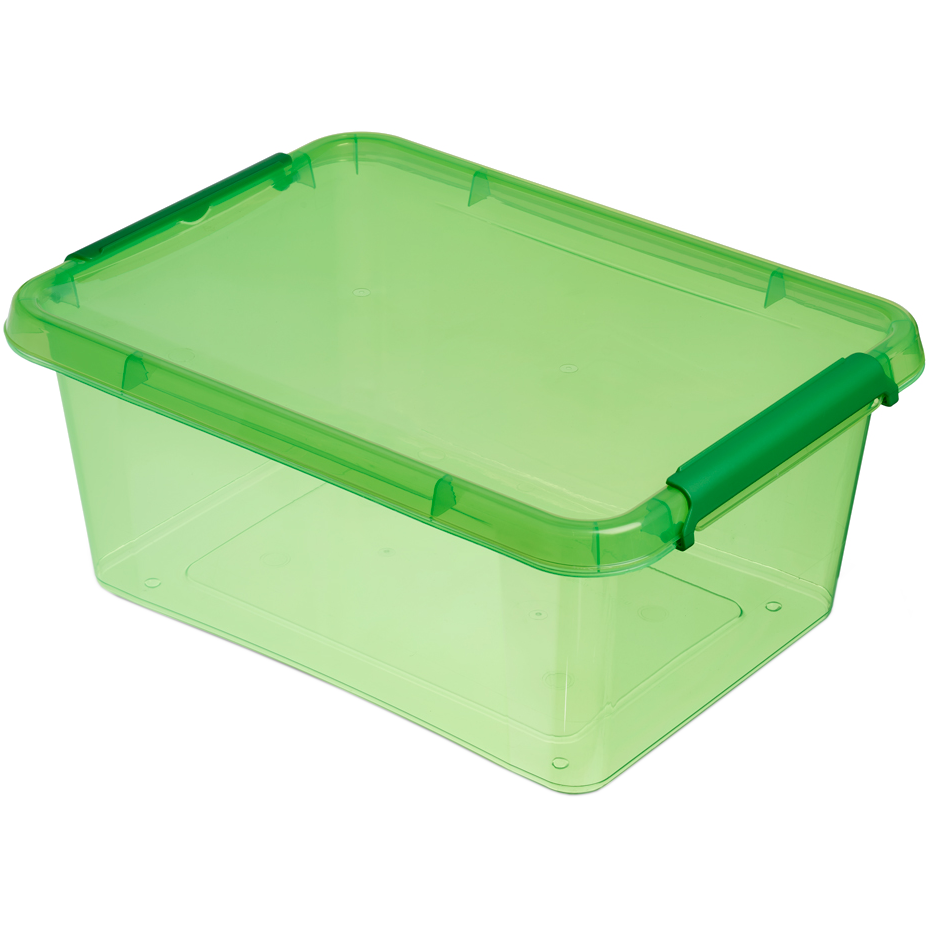 Бокс прямокутний Orplast 12,5 л з кришкою кліпсами зелений