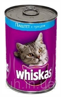 Whiskas влажный корм для кошек паштет с тунцом 400гр 24шт