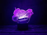 """Детский ночник - светильник """"Мотоцикл"""" 3DTOYSLAMP"""