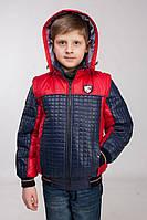 Куртка демисезонная, трансформер на мальчика сине-карная