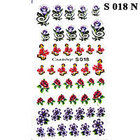 Водные Наклейки для Ногтей Разноцветные, Декор ногтей, Маникюр, Angevi S 018 Цветы, Розочки