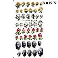Водные Наклейки для Ногтей Разноцветные, Декор ногтей, Маникюр, Angevi S 019 Цветы, Розочки, Мэрлин