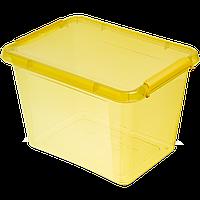 Бокс прямокутний Orplast 19 л з кришкою кліпсами жовтий