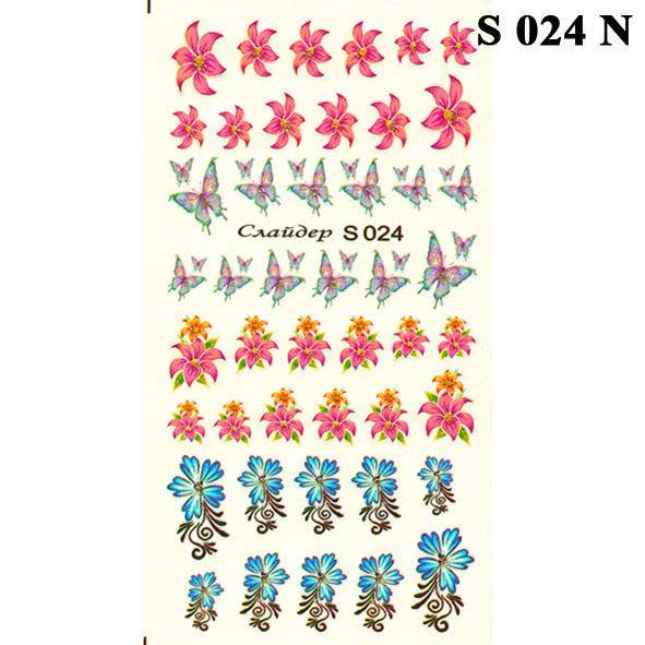 Водні Наклейки для Нігтів Різнокольорові, Декор нігтів, Манікюр, Angevi S 024 Квіти, Лілії, Метелики
