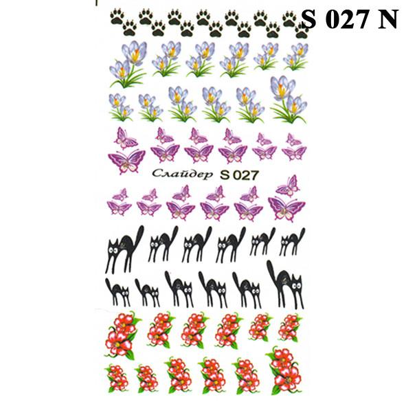 Водные Наклейки для Ногтей Разноцветные, Декор ногтей, Маникюр, Angevi S 027 Лапки, Крокусы, Бабочки, Коты