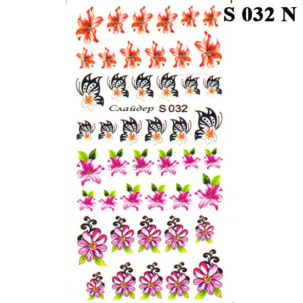 Водные Наклейки для Ногтей Разноцветные, Декор ногтей, Маникюр, Angevi S 032 Цветы, Бабочки