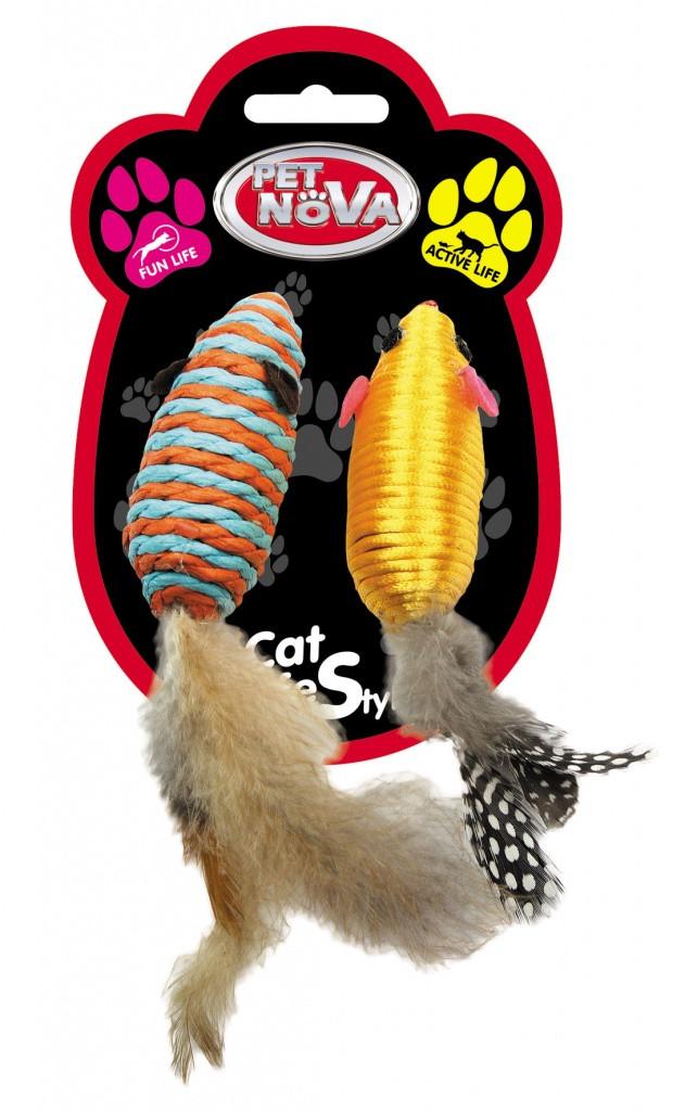 Іграшка для котів Мишки з пір'ям Pet Nova 7х3 см