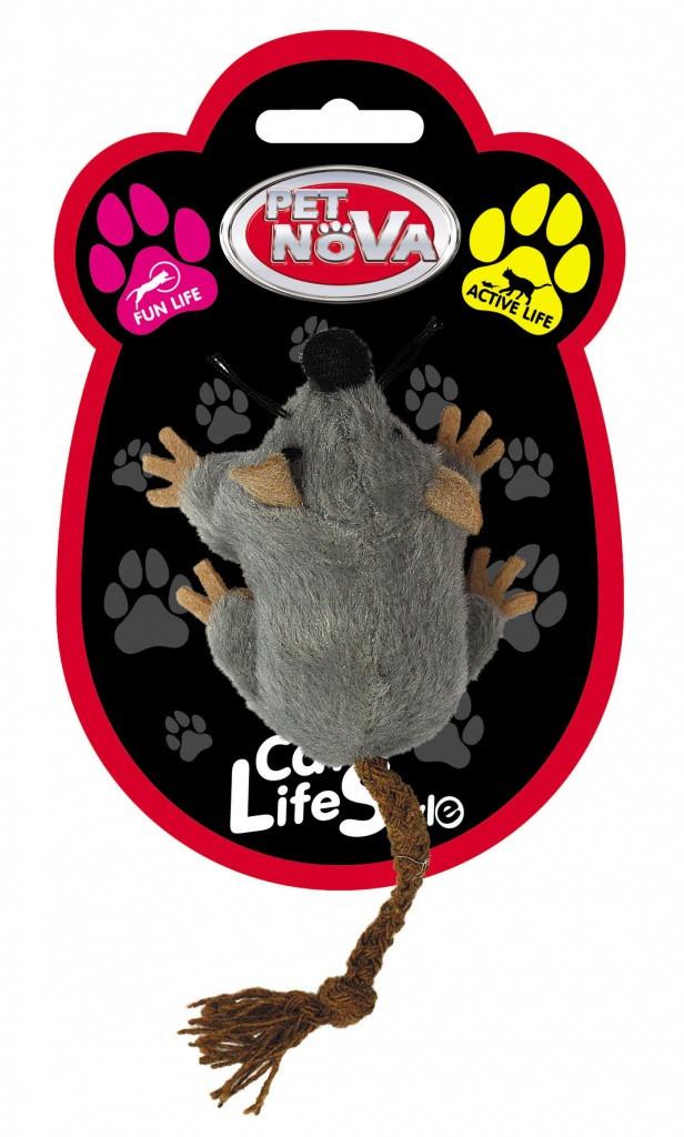 Іграшка для котів Миша плюшева Pet Nova 7x5 см Сіра