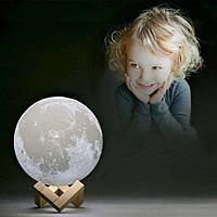 "3D светильник-Ночник ""Луна"" 15 см 3DTOYSLAMP, фото 1"