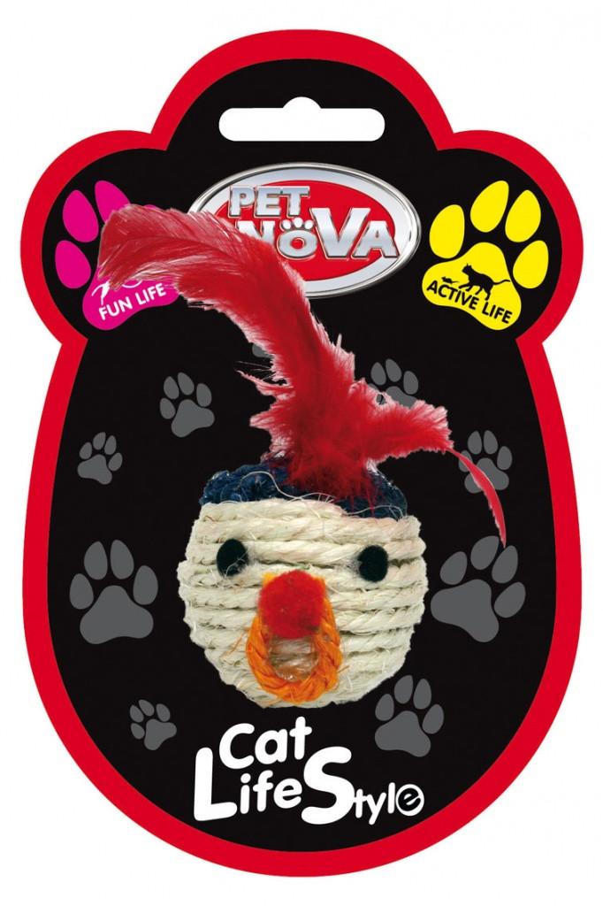 Іграшка для котів Плетений голова з пір'ям Pet Nova 5 см