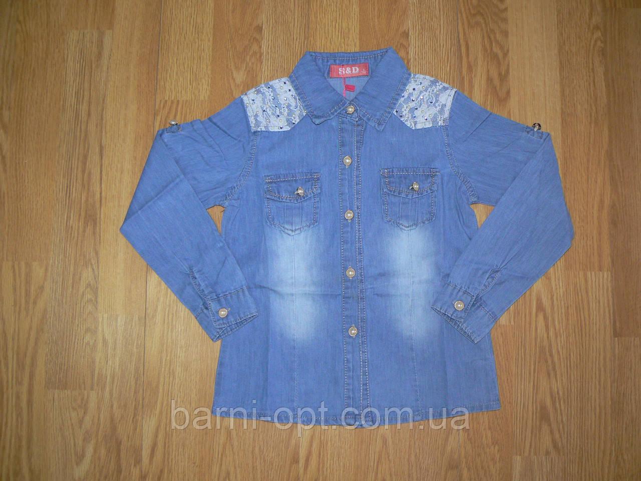Джинсовые рубашки на девочек оптом, S&D, в наличии  1/86рр