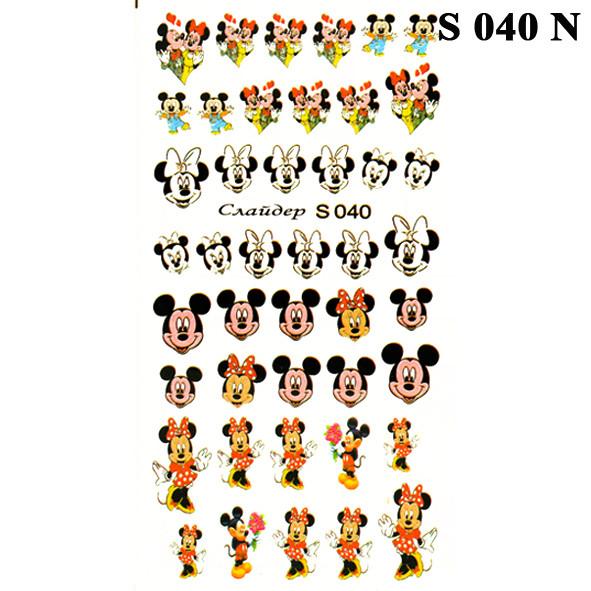 Водні Наклейки для Нігтів Різнокольорові, Декор нігтів, Манікюр, Angevi S 040 Міккі Маус, Мишки