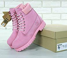 Женские ботинки Timberland 6 Inch Premium в розовом цвете