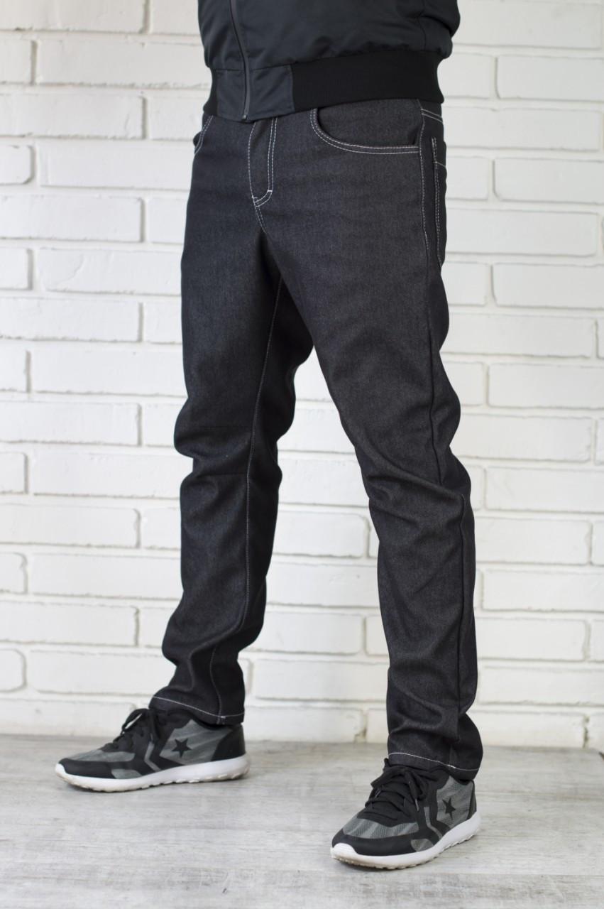 Мужские черные утепленные джинсы
