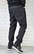 Мужские черные утепленные джинсы, фото 2
