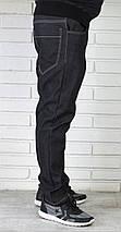 Мужские черные утепленные джинсы, фото 3
