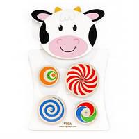 Игрушка настенная бизиборд Корова с кругами Viga Toys 50677