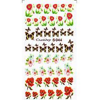 Водные Наклейки для Ногтей Разноцветные, Декор ногтей, Маникюр, Angevi S 044 Маки, Бабочки, Цветы