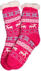 Носки тапочки женские BaGi Wool Олень Розовый