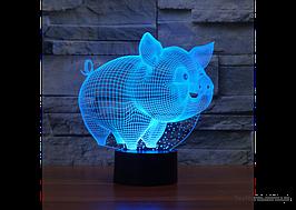 """Дитячий 3D лампа-нічник """"Свинка"""" 1103, незвичайний і чарівний подарунок"""