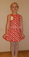 Летнее платье для девочки красный горошек. Оригинальный подарок , фото 1